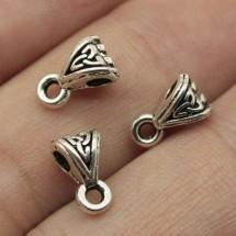 Бейл для бижутерии. Держатель кулона+колечки соединительные, цвет античное серебро. Цена за 1 шт.