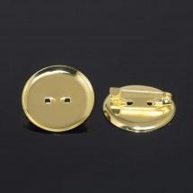 Основа для броши с круглым основанием, золото 25 мм. Цена за 1 шт.