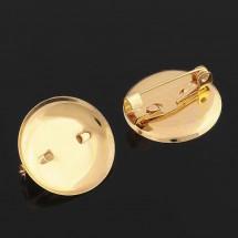 Основа для броши с круглым основанием золото, 20 мм. Цена за 2 шт.