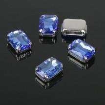 Стразы в цапах без отверстий (набор 5шт), размер 10 х 14 мм. Цвет: голубой в серебре.