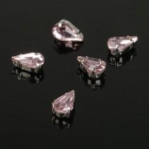 Стразы в цапах (набор 5 шт), размер 6*10мм, цвет розовый в серебре