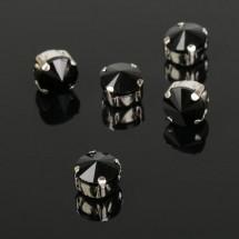 Стразы в цапах без отверстий (набор 5 шт), размер 8*8мм, цвет черный в серебре