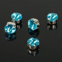 Стразы в цапах без отверстий (набор 5 шт), размер 8*8мм, цвет голубой в серебре