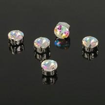 Стразы в цапах без отверстий (набор 5 шт), размер 8*8мм, цвет  радужный в серебре