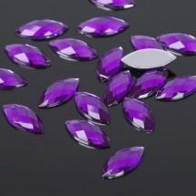 Стразы плоские эллипс. Кабошон размером 7*15 мм. Цвет: фиолетовый. Цена за 20 шт.
