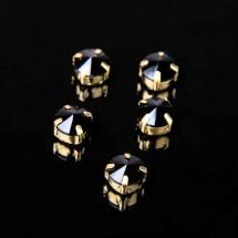Стразы в цапах (набор 5 шт), размер 8*8 мм, цвет черный в золоте