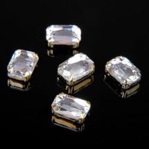 Стразы в цапах без отверстий (набор 5шт), размер 10 х 14 мм. Цвет: белый в золоте.