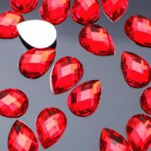 Стразы плоские капля. Кабошон размером 10*14 мм. Цвет: ярко-красный. Цена за 20 шт.