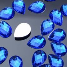 Стразы плоские капля. Кабошон размером 10*14 мм. Цвет: ярко-синий. Цена за 20 шт.