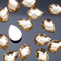 Стразы плоские капля. Кабошон размером 10*14 мм. Цвет: золотой. Цена за 20 шт.