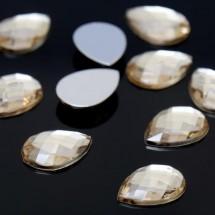Стразы плоские капля. Кабошон размером 13*18 мм. Цвет: золотой. Цена за 10 шт.