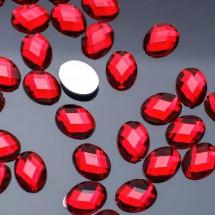 Стразы плоские овал. Кабошон размером 7,5*10 мм. Цвет: темно-красный. Цена за 30 шт.