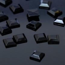 Стразы плоские квадрат. Кабошон размером 8*8 мм. Цвет: черный. Цена за 20 шт.