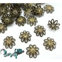 Концевики для бус Ромашки, диаметр: 14-15 мм (набор 10 шт), цвет бронза.