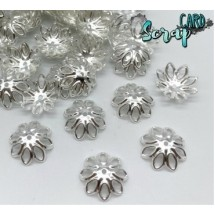 Концевики для бус Ромашки, диаметр: 14-15 мм (набор 10 шт), цвет серебро.