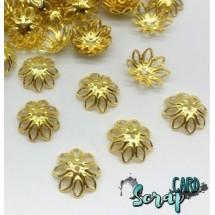 Концевики для бус Ромашки, диаметр: 14-15 мм (набор 10 шт), цвет золото.