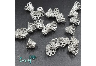 """Концевики бусин """"Пирамида"""", размер: 6*5 мм (набор 20 шт), цвет серебро."""