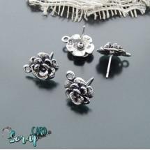 "Гвоздики основы для серег ""Роза"". Цена за 1 пару (2 шт.) Цвет: серебро + 2 стоппера"