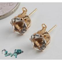 Швензы-гвоздики с кристаллами диаметром 8 мм. Цена за 1 пару. Цвет: золото/прозрачный кристалл + 2 стоппера