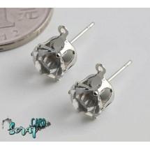 Швензы-гвоздики с кристаллами диаметром 8 мм. Цена за 1 пару. Цвет: серебро/прозрачный кристалл + 2 стоппера