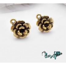 """Гвоздики основы для серег """"Роза"""". Цена за 1 пару (2 шт.) Цвет: золото + 2 стоппера"""