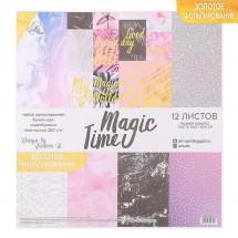 """Набор бумаги для скрапбукинга с фольгированием """"Magic time"""", 12 листов 30.5 × 30.5 см, 250 г/м"""