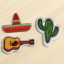 """Декор пластик """"Мексика"""" набор 3 шт, 3,1 х 2,9 см."""