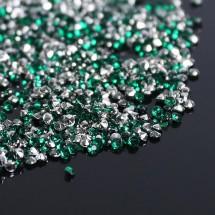"""Кристаллы мини """"Стразы Горный хрусталь"""" диаметр 2 мм. В упаковке 10 грамм. Цвет тёмно-зеленый №16."""