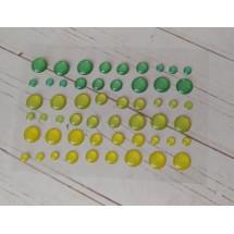 Клеевые эмалированные камушки (КАПЛИ с блёстками) диаметр 8 мм, 6 мм и 3 мм