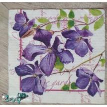 """Салфетка для декупажа """"Фиолетовые цветы"""" 33 х 33 см. Цена за 1 шт."""