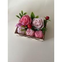 """Подарочный набор """"Мыльный букет Розы и пионы в коробке"""" - Ручная работа. Делается под заказ. Цветовая гамма согласовывается."""