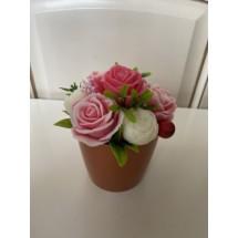 """Подарочный набор """"Мыльный букет Пионы с розами в горшке"""" в подарочной упаковке - Ручная работа. Делается под заказ. Цветовая гамма согласовывается."""