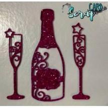 """Заготовка-вырубка из глиттерного фоамирана """"Шампанское с бокалами"""". Цена за 3 шт."""