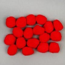 Набор текстильных деталей для декора «Бомбошки» 18 шт. набор, размер 1 шт: 2,5 см, цвет красный