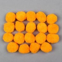 Набор текстильных деталей для декора «Бомбошки» 18 шт. набор, размер 1 шт: 2,5 см, цвет оранжевый