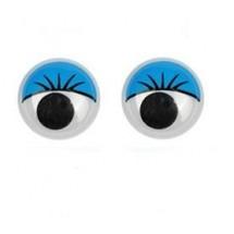 Глазки с речничками для игрушек пластмассовые круглые. Диаметр - 12 мм. Цена за 1 пару. На клеевой основе.