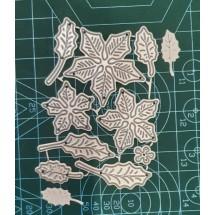 """Набор ножей для вырубки  """"Цветы и листья Рождественская звезда"""", 9 элементов, размер 6,0 х 8,5 см"""