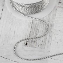 Нить для плетения d = 2 мм, цвет серебряный, цена за 1 метр