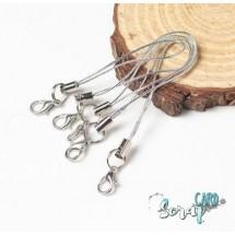 Шнурок-соединитель с замком-крабом. Цвет: серебро. Длинна - 7 см. Цена за 5 шт.
