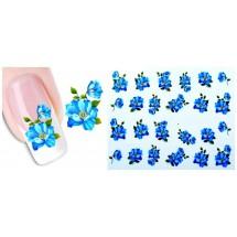 """Слайдер-дизайн наклейки MIX """"Цветочное настроение"""" (синие оттенки), цена за 4 вида."""