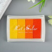 """Штемпельная подушка """"Жёлто-оранжевая палитра"""" (набор 4 цвета), 7,8х5,5х1,8 см"""