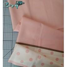 Хлопок Розовый горох/фон - 1 отрез (60х75см)
