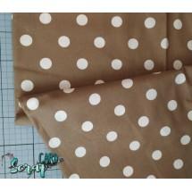 Хлопок Белый горох на коричневом фоне - 1 отрез (56х70см)