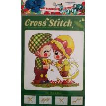 """Набор для вышивания крестиком """"Мальчик с девочкой"""", 13 х 20 см."""