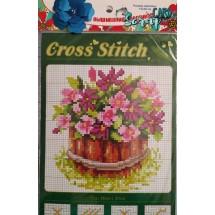"""Набор для вышивания крестиком """"Корзинка цветов"""", 13 х 20 см."""