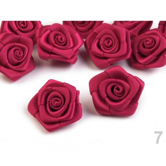 Цветки атласные Бутон розы. Цвет пунцовый. В комплекте 10 штук. Диаметр - 1,2-1,5 см