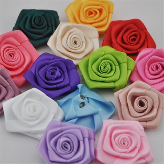 Цветки атласные Бутон розы. Цвет MIX. В комплекте 10 штук. Диаметр - 2,2-2,5 см