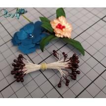 Тычинки для цветов средние Magic. Цвет коричневый глянец. В связке 30 шт. (60 головок диаметром 3-3,5 мм)