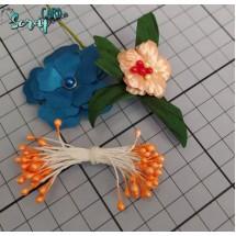 Тычинки для цветов средние Magic. Цвет оранжевый глянец. В связке 30 шт. (60 головок диаметром 3-3,5 мм)