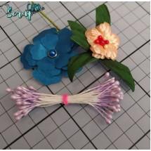 Тычинки для цветов средние Magic. Цвет фиолетовый светлый глянец. В связке 30 шт. (60 головок диаметром 3-3,5 мм)
